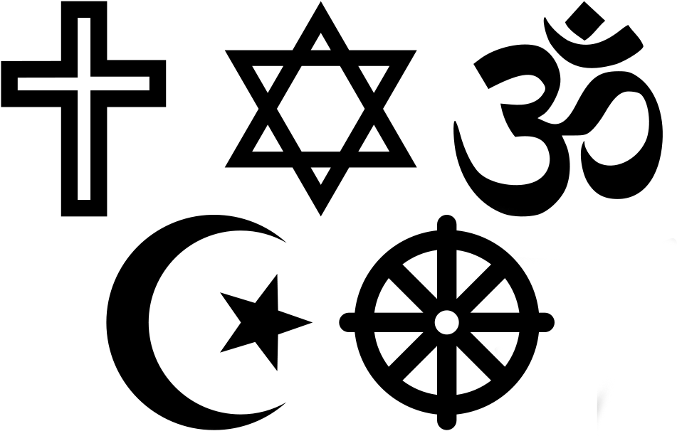 """Viiden maailmanuskonnon symbolit: risti, Daavidin tähti, sanskritin sana """"om"""", kuu ja tähti, kahdeksanpuolainen pyörä"""